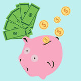 Wektorowy prosiątko banka pojęcie w mieszkanie stylu - pieniędzy savings Fotografia Royalty Free