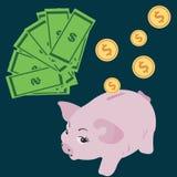 Wektorowy prosiątko banka pojęcie w mieszkanie stylu - pieniędzy savings Fotografia Stock