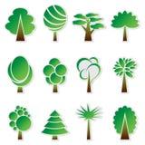 Wektorowy prosty zielony drzewny ikona set Zdjęcie Royalty Free