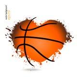 Wektorowy przedmiot w formie serca dla koszykówki Zdjęcia Royalty Free