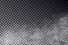Wektorowy przejrzysty mgła skutek odizolowywający na ciemnym tle Dym lub mgła iść w górę skutka Biały cloudi ilustracji