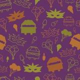 Wektorowy Purpurowy Karnawałowy Bezszwowy Deseniowy tło royalty ilustracja