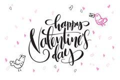 Wektorowy ręki literowania valentine ` s dnia powitań tekst z serce ptakami i kształtami - szczęśliwy valentine ` s dzień - Zdjęcia Royalty Free