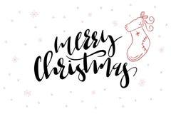 Wektorowy ręki literowanie wita Wesoło bożych narodzeń tekst z doodle bożych narodzeń płatek śniegu i skarpetą ilustracji