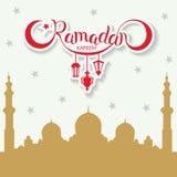 Wektorowy Ramadan kareem literowanie na brown meczetowym sylwetki tle Zdjęcia Stock