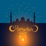 Wektorowy Ramadan kareem literowanie na meczecie pod błękitnej gwiazdy niebem Zdjęcia Stock