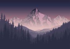 Wektorowy ranek gór krajobraz ilustracja wektor