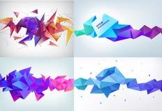 Wektorowy realistyczny abstrakta 3d kształt Faceted horyzontalny tło, projektów elementy Futurystyczny stylowy sztandar royalty ilustracja