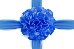Wektorowy realistyczny 3d błękitny jedwabniczy faborek z łękiem odizolowywającym Zdjęcie Stock