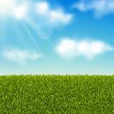 Wektorowy realistyczny krajobraz Zielonej trawy pole, łąka lub niebieskie niebo z chmurami Lata lub wiosny tło ilustracja wektor
