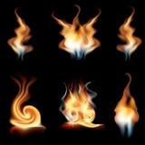 Wektorowy realistyczny ogień płonie kolekcję odizolowywającą na czarnym tle Płonący spruts płomienia skutek z błyskają Obraz Stock