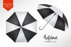 Wektorowy realistyczny parasol, podeszczowy parasolowy sunshade set round egzamin próbny up Zdjęcie Royalty Free