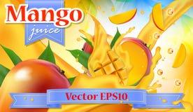 Wektorowy reklam 3d promocyjny sztandar, Realistyczny mangowy owocowy chełbotanie Obraz Stock