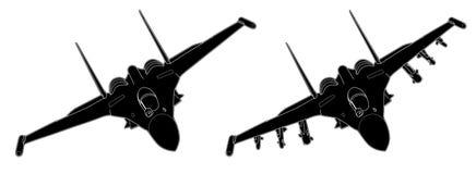 Wektorowy remis nowożytny rosyjski myśliwiec odrzutowy zdjęcia stock
