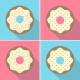 Wektorowy Retro Gryźć Donuts Ustawiający Ilustracyjny Płaski projekt Zdjęcie Stock