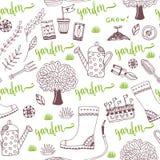 Wektorowy ręki nakreślenia ogródu wzór z nasieniodajnymi paczkami, narzędziami, drzewem i podlewanie puszką, Wektorowy bezszwowy  Zdjęcie Royalty Free