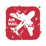 Wektorowy rocznik opłaty pocztowa lotniczej poczta znaczek Zdjęcia Stock