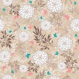 Wektorowy rocznika brązu motyli, liści i kwiatów bezszwowy deseniowy tło, Wielki dla spadek o temacie tkaniny Zdjęcia Royalty Free