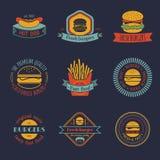 Wektorowy rocznika fasta food loga set Retro łasowanie podpisuje kolekcję Hamburger, hamburger, hot dog, frankfurter emblematy royalty ilustracja