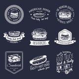 Wektorowy rocznika fasta food loga set Retro szybki posiłek podpisuje kolekcję Bistra, przekąska bar, uliczna restauracja, gość r ilustracji