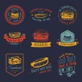 Wektorowy rocznika fasta food loga set Retro szybki posiłek podpisuje kolekcję Bistra, przekąska bar, uliczna restauracja, gość r royalty ilustracja