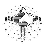 Wektorowy rocznika krajobraz z halnymi szczytami, siklawy końcówki grap Fotografia Stock