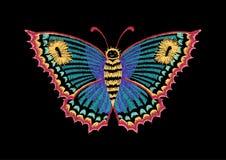 Wektorowy rocznika motyl, dekoracyjny element dla broderii, łaty i majchery, Zdjęcie Stock