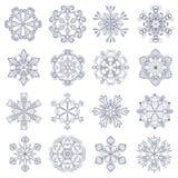 Wektorowy rocznika płatek śniegu ustawiający w zentangle stylu 16 oryginałów sno Zdjęcie Royalty Free