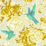 Wektorowy rocznika wzór z różami i peoniami Retro kwiecista tapeta, kolorowy tło Fotografia Stock