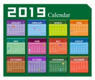 Wektorowy rok 2019 kalendarzowy tło ilustracja wektor
