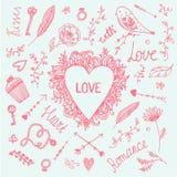 Wektorowy romantyczny ilustracja set, miłość rocznika ręka rysująca kolekcja Serce, strzała, wiruje Zdjęcia Stock