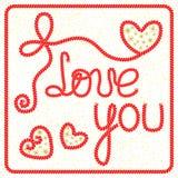 Wektorowy romantyczny kartka z pozdrowieniami z literowaniem kocham ciebie ilustracji
