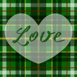 Wektorowy romantyczny szkocki tartanu serce w zieleni, bielu i czerni, Brytyjski lub irlandzki celta projekt dla zaproszenia, pow Ilustracji