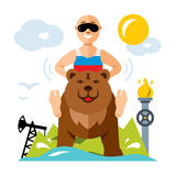 Wektorowy rosjanin i przemysł Mieszkanie kreskówki stylowa kolorowa ilustracja Zdjęcie Royalty Free