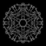 Wektorowy round kwiecisty wzór z białą linią na czarnym tle royalty ilustracja