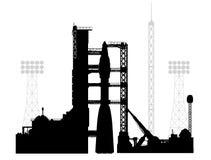 Wektorowy rysunek cosmodrome w sylwetka stylu Fotografia Stock