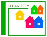 Wektorowy rysunek czysty miasto logo royalty ilustracja