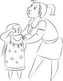 Wektorowy rysunek dziewczyna i kobieta zdjęcie royalty free