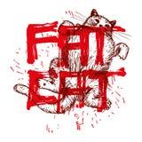 Wektorowy rysunek Gruby kot na plecy Zdjęcie Royalty Free