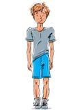Wektorowy rysunek miedzianowłosa Kaukaska chłopiec, kreskówka pociągany ręcznie ilustracji