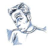 Wektorowy rysunek opiły mężczyzna lub hazardzista z zmarszczeniami na jego pierwszym planie ilustracji