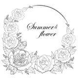 Wektorowy rysunek round wianek z kontur róży kwiatem i ulistnienie odizolowywający na białym tle Kwieciści elementy z otwartymi r ilustracji