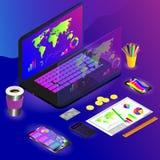 Wektorowy rysunek workspace z różnymi gadżetami i rysunek z infographic na barwionym tle ilustracji