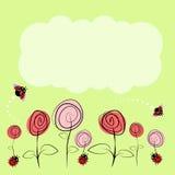 Wektorowy rysunek z kwiatami i insektami Zdjęcia Stock
