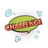 Wektorowy rywalizacja znak Wyzwanie motywaci bąbel w pastel zieleni pomarańcze barwi Kreskówki komiczki chmura z inspiraci typogr ilustracji