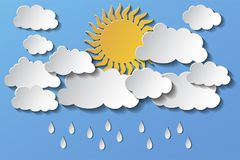 Wektorowy słońce chujący za chmurami i deszczem w popołudniu 10 eps royalty ilustracja