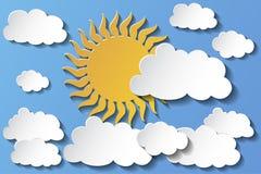 Wektorowy słońce chujący za chmurami w popołudniu 10 eps ilustracja wektor