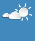 Wektorowy słońce z białymi małymi chmurami Obrazy Royalty Free