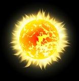 Wektorowy słońce z promieniami w przestrzeni Obraz Royalty Free