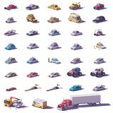 Wektorowy samochodów i ciężarówek ikony set ilustracji